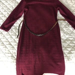 Burgundy dress with brown belt